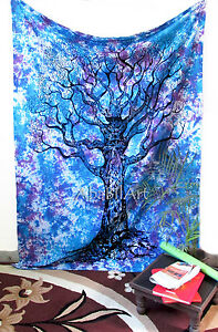 Hippie Indian Tree Of Life Twin Tapestry Wall Hanging Art TieDye Bedspread Throw
