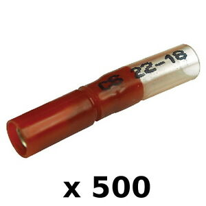 500 Pack Red 22-18 AWG Heat Shrink 0.180 Inch Female Bullet Terminals for Boats