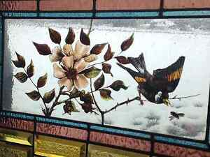 Rare Antique Stained Glass Window hand painted c.1890 Bird branch bee
