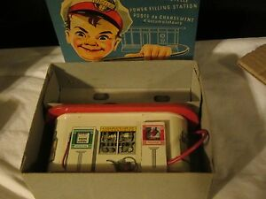 rare working 1950 tin plastic filling station inst
