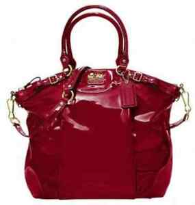 NWT COACH MADISON LINDSEY Patent Leather Convertible Satchel Handbag Bag 18627