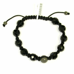Pave Diamond Gemstone Beads 925 Silver Macrame Bracelet For Women'S