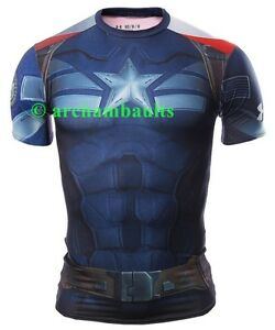 CAPTAIN AMERICA UNDER ARMOUR ALTER EGO COMPRESSION SHIRT SIZE MEDIUM