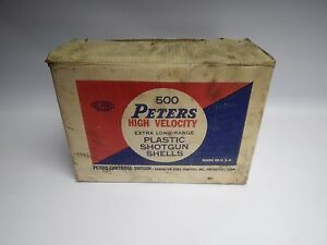Rare Vintage Peters High Velocity 500 Shotgun Shell Cardboard Ammunition Box