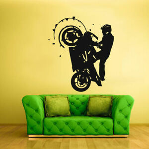 Wall Vinyl Sticker Bedroom Dirt Bike Stunt Riding Moto Motorcycle (Z1770)