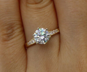 1.25 Ct 14K Yellow Gold Cathedral Round Engagement Wedding Propose Promise Ring