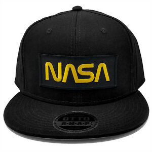 Nasa Gold Letter Black Military Patch Flat Bill Snapback Baseball Cap Hat by PT