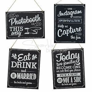 WOODEN WEDDING SIGNS -Chalkboard Style with Brown String- Vintage/Rustic Wedding