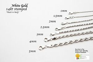 14k Solid  White Gold Rope Chain Necklace  Dcut 1.5-5mm Mens' Women Sz 16