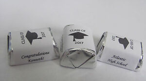 60 Personalized Class of 2021 Graduation Candy Hershey Nugget Labels Wrappers $2.99