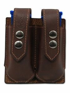 NEW Barsony Brown Leather Double Magazine Pouch for Taurus Full Size 9mm 40 45