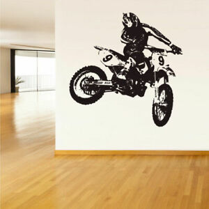 Wall Vinyl Sticker Bedroom Decal Tribal Dirt Bike Moto Motorcycle (Z1502)