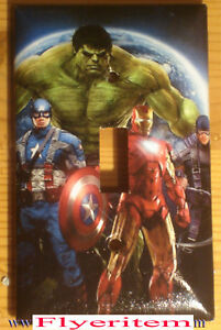 Captain America Iron Man Hulk Comic Hero Light Switch Duplex Outlet Cover Plate