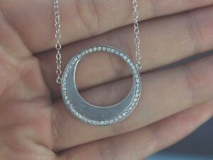 $1995 14K White Gold Round Disc Circle Half Moon Diamond Chain Necklace Pendant