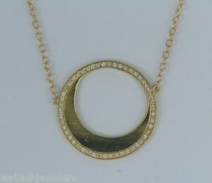 $1995 14K Yellow Gold Round Disc Circle Half Moon Diamond Chain Necklace Pendant