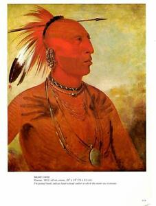 1981-George Catlin: Brave Chief- Pawnee Tribe1832- Oil- Vtg Bookplate Art Print