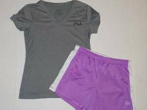 fila dry fit shirt gray girls size 10 12 justice purple athletic shorts