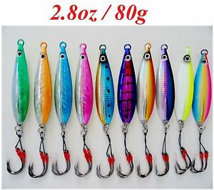 10pc 80g2.8oz Fast Fall Vertical Keel Flat Knife Jig Saltwater Fishing Lures