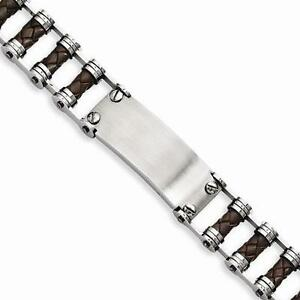 New Chisel Men's Stainless Steel Brown Leather With ID Plate Bracelet 9
