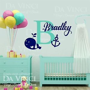 Custom Name Wall Decal Sticker Monogram Vinyl Whale Nautical Baby Room Nursery