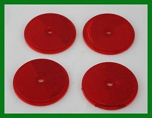 Red Reflector Truck RV 2 1 4quot; Round Center Bolt Quick Mount Set of 4