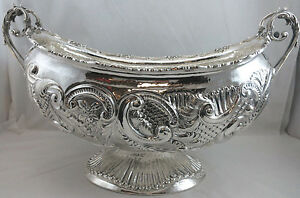 New Sterling Silver 925 Fruit Bowl Dish Master Piece Design 2402g Made in Italy!
