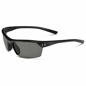 Under Armour Zone 2.0 Sunglasses Satin Black Frame wBlack Rubber Gray Lens