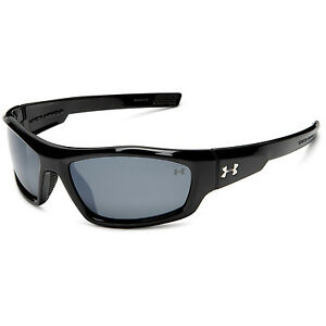 Under Armour UA Power Shiny Black Frame Gray Polarized Mirror Lens Sunglasses