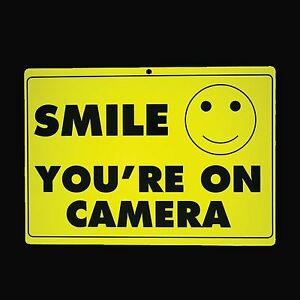 2 (Two) SMILE YOU'RE ON CAMERA Sign Security Warning Surveillance Alert CCTV