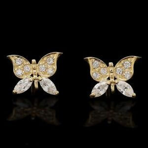 0.50Ct Created Diamond Butterfly Stud Earrings 14K Yellow Gold Screw Back 10mm