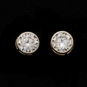 2CT Created Diamond 14k Yellow Gold Bezel Set Round Screw Back Stud Earrings