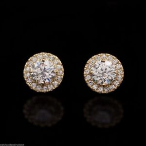 2Ct Round Created Diamond Halo Cluster Push Back Stud Earrings 14K Yellow Gold