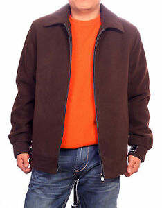NEW MENS BROWN JACKET WOOL FOR WINTER JACKET COAT BEIGE ITALY WITH ZIPPER