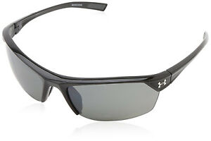 Under Armour UA Zone 2.0 Sunglasses Shiny Black Frame Gray Polarized Multi Lens