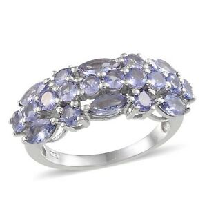 Tanzanite (Mrq) Ring in Platinum Overlay Sterling Silver 2.750 Ct. size N
