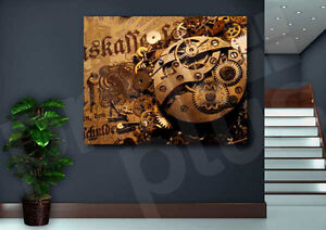 Watch Gear On Old Banknote Art Canvas Poster Print Home Wall Decor $15.99