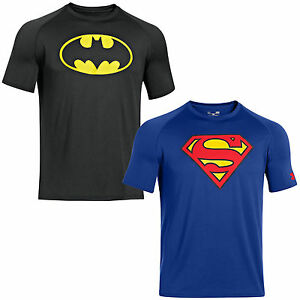 Under Armour Alter Ego Super heroes Shirt Batman Superman Training top NEW