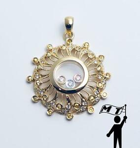 14K Yellow Gold Floating Happy Round Circle Diamond Sun Flower Pendant Necklace