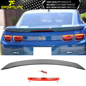 Fit 10-13 Camaro ZL1 Style Trunk Spoiler Wing Unpainted Black With LED 3RD Brake