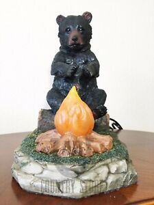 Black Bear Camp Fire Table Night Light - Rustic Cabin Lodge Country Decor NEW