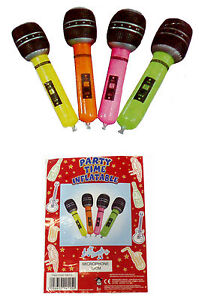 10 X INFLATABLE MICROPHONE 40CM ASSORTED COLOURS