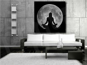 Yoga Lotus Position Silhouette Against the Full Moon Canvas Art Poster Print
