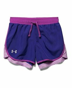 Girls Under Armour Fast Lane Shorts Purple Sky 937 Youth X-Small