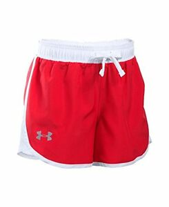Girls Under Armour Fast Lane Shorts Red 600 Youth Medium