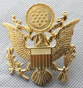 US Army Officer Cap Eagle Badge Insigia Gold 1-3/4