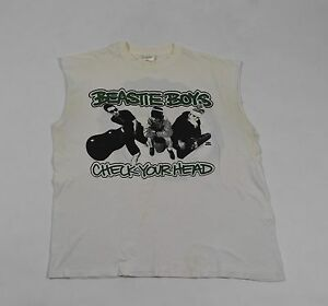 Vintage Beastie Boys White Check Your Head Muscle T-Shirt XL