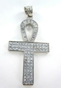 PENDANT CHARM KEY OF LIFE DIAMOND EGYPTIAN ANKH EGYPT 18KT WHITE GOLD 2 OUNCES