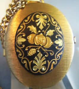 Vintage Damascene Floral Design Locket necklace with pictures Estate Jewelry