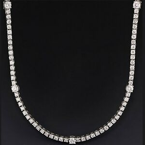 Certified 6.50Ct Diamond Designer Tennis Necklace in 18k White Gold