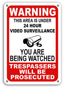 Warning Under 24 Hour Video Surveillance Sign Home Yard Security cctv WATCH 7x11